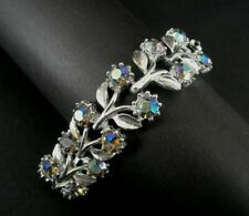 Bracelet and Necklace Vintage Flower Leaves AB Rhinestones with Silver Plate Set