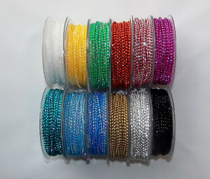 Bead Trim Pearl Effect Perline Beads 3mm wide 1m, 2m or 5m lengths 12 Colours