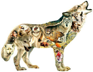 750 Piece Wolf Shaped Puzzle by SunsOut Native American Wolf Art by Greg Giordan