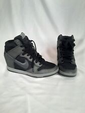 Nike Dunk Sky Hi Wedge Black grey Metallic women size 9 Shoes Rare 528899-015