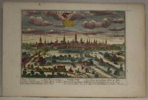 UTRECHT NETHERLANDS 1720 AVELINE UNUSUAL ANTIQUE COPPER ENGRAVED CITY VIEW