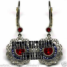 Victorian 2.02Cts Rose Cut Diamond Sapphire Ruby Studded Silver Jewelry Earring