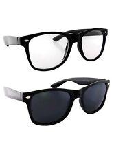 2 Retro Fashion Style Nerd Black Frame Clear Lens and Dark Lens Sunglasses