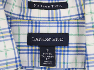 LANDS' END Vtg Tartan Plaid Button Shirt TAILORED FIT Men's Reg Small 14 14 1/2