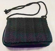 Neiman Marcus Collection Small Embroidered Black Shoulder Bag Purse Rope Handle