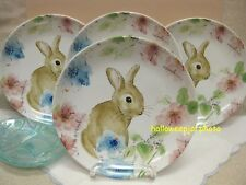 "222 FIFTH EASTER BASTIA BUNNY ROUND SIDE SALAD PLATE RABBIT 8"" PORCELAIN 4PC"