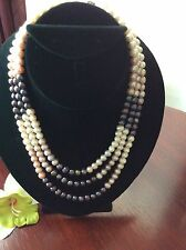 three Layered Multi  colored Genuine pearl Necklace,great Christmas Gift