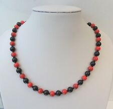 """Black glass pearl and red bead necklace. 19"""" Gift or treat."""