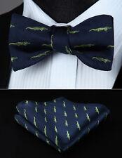 Green  Animal Pattern Bowtie Men Silk Self Bow Tie handkerchief set#BGA06GS