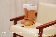 BHC Wooden Long Fur Boots for Kenner Blythe doll Licca / Azone / Pullip -FW221