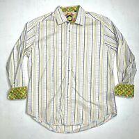 Robert Graham Shirt Mens Size Large Cotton Long Sleeve Plaid Button Up Flip Cuff