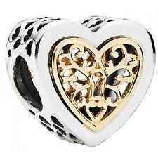 100% Authentic PANDORA 'Locked Hearts' two-tone charm 791740