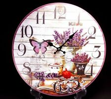Vintage Style Wooden Hanging Wall Clock Flower / Butterfly   Design