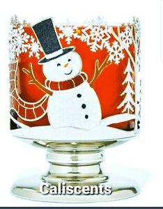 BATH BODY WORKS JOYFUL SNOWMAN CHRISTMAS 3 WICK CANDLE HOLDER  PEDESTAL NEW X1