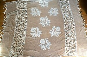 Hand made vintage filet lace bed cover, rose sprays, white work on linen panels