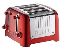 Dualit Lite 4-Slice Toaster 1100W Power Defrost Function Browning Control Red