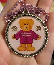 Bear Alzheimers Necklace-Awareness-Purple Ribbon-Handmade Resin Jewelry