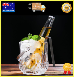 Diamond Style Glass Ice Bucket With Handle Beer Cooler Ice Holder Party 1000ml