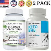 Coconut Colon Detox Caps Keto BHB Diet Ketosis Fat Burner Weight Loss Pills 2 PK