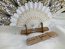 5 WOODEN STAND REST FOR CHINESE JAPANESE SPANISH HAND FAN TABLE DISPLAY TOOL A4