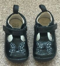 Girls Clarks First Shoes Black Patent Shoes Bow Size 3F SB6