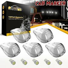 5 Roof Light Cab Marker Clear Covers+White Epistar LED Bulb For Ford F-350 E-450