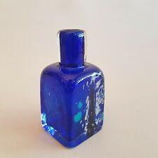 Bouteille flacon en verre style Murano bleu roi