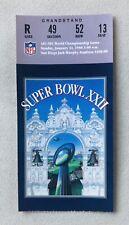 Nfl Super Bowl Xxii Ticket Collectible Jack Murphy Stadium San Diego 1988