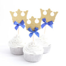 12 x Gold Prince Crown With Blue Ribbon Cupcake Toppers Birthday Cute