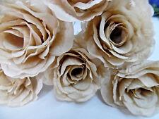 6 CHAMPAGNE FAUX SILK ROSE FLOWER STEM (NOT FOAM)BRIDAL/CRAFT BUTTONHOLE/BOUQUET