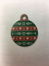 """Christmas Winter Fishbone Themed Pet Charm Cat Tag for Your Pet, Green 1.25"""""""