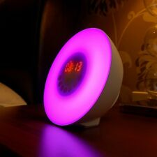 Auraglow Colour Changing LED Sunrise Simulation Wake Up Alarm Clock & FM Radio