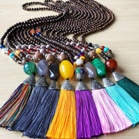 Boho Women Jewelry Handmade Wood Beads Natural Stone Tassel Bead Necklace Gi HF