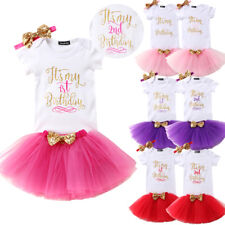 AU Stock Lace Birthday Baby Girls Kids Romper Jumpsuit Lace Skirt Party Dress
