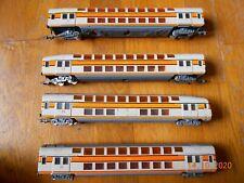 Lot de 4 wagons voyageurs train de banlieue 2 étages JOUEF HO