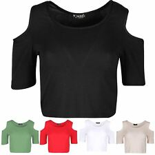 Womens Ladies Cold Cut Out Shoulder Plain Summer Round Neck Cap Sleeves Crop Top