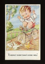 CYCLING Bicycles Boy -no hands-  Dog artist Kit Forres drawn unused 1946 PPC