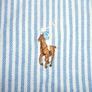 16 1/2 - 35 Polo Ralph Lauren BLUE/WHITE OXFORD Yarmouth Dress Shirt 100% Cotton