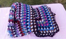 "Handmade crochet throw chunky heavyweight 54""square"