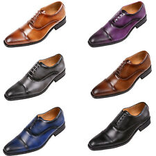 Amali Mens Classic Lace Up Oxfords Embossed Cap Toe Formal Dress and Work Shoes