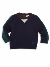 100% Authentic NWT Burberry Baby & Toddle Cashmere Sweater Navy Blue w/ Trim 9m