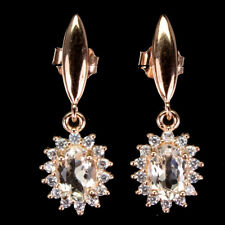 Unheated Oval Morganite Cz 14K Rose Gold Plate 925 Sterling Silver Earrings