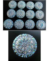"12 Czech Crystal Glass LACY Buttons #B363 - 18 mm or 3/4"" - IRIDESCENT!!!!!!!!!!"