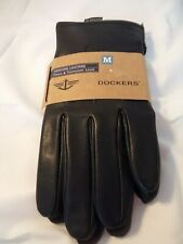 New Mens DOCKERS Black Adjustable Snap Leather Gloves Size L Retail $60