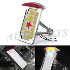 Chrome Vertical Side Mount Motorcycle License Plates Bracket Holder Brake Light