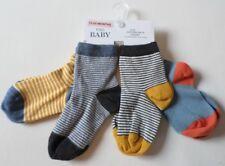 4 PAIRS BABY BOYS SOCKS 12-24 MONTHS NEW M&S COTTON RICH STAYSOFT DENIM MIX