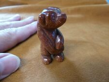 (Y-BEA-ST-551) Stand GOLDSTONE BEAR GEM stone carving FIGURINE gemstone bears