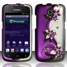MetroPCS Huawei Vitria Rubberized HARD Case Snap Phone Cover Purple Silver Vines