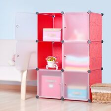 DIY Home Storage Cube Cabinet for Clothes, Shoes, Bags, Office, Red (6) Cubitbox