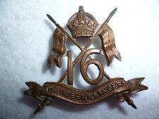 16th Lancers Bronze Officer's Cap Badge, KK 781, Cavalry / Armoured